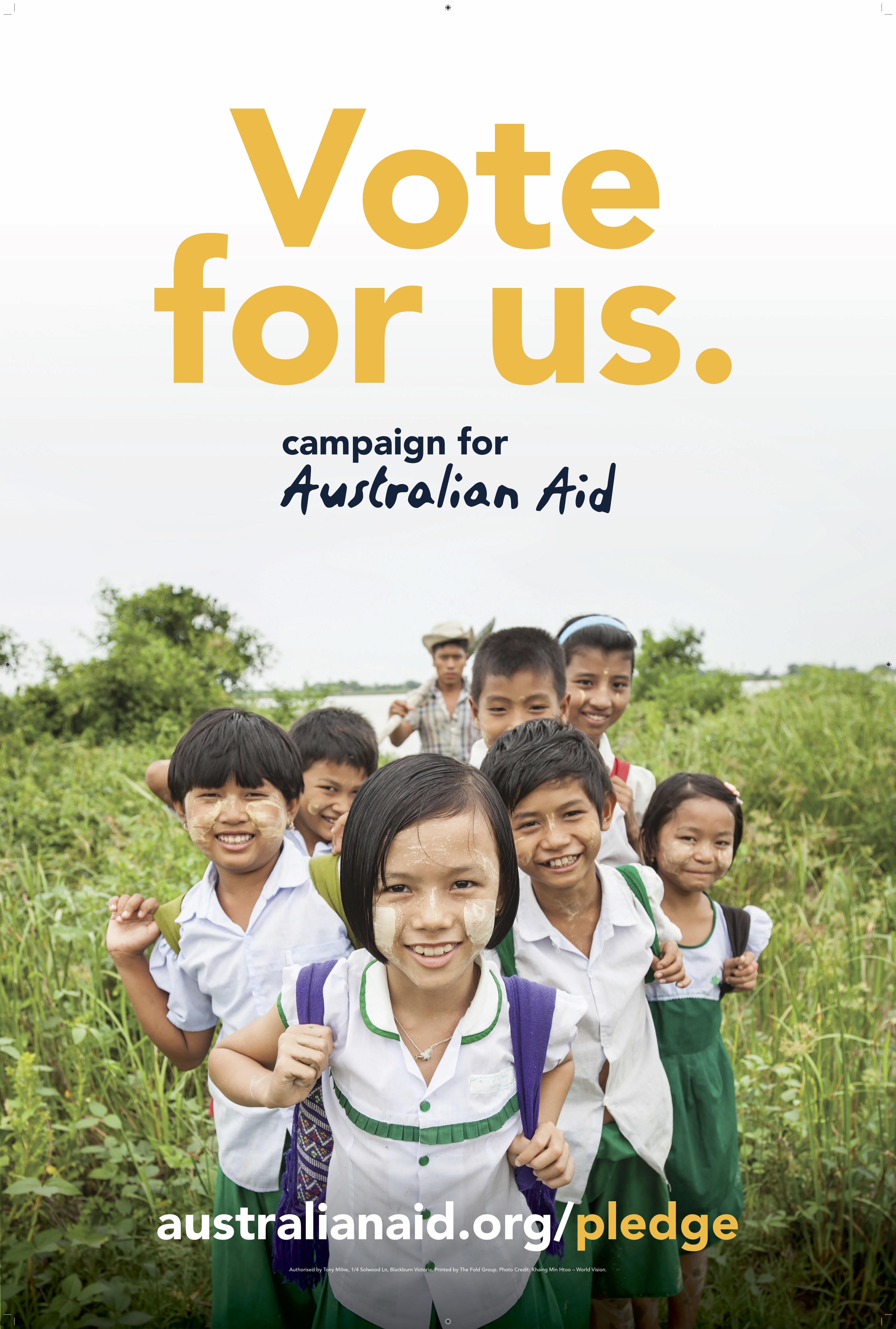 Campaign for Australian Aid election fence sign