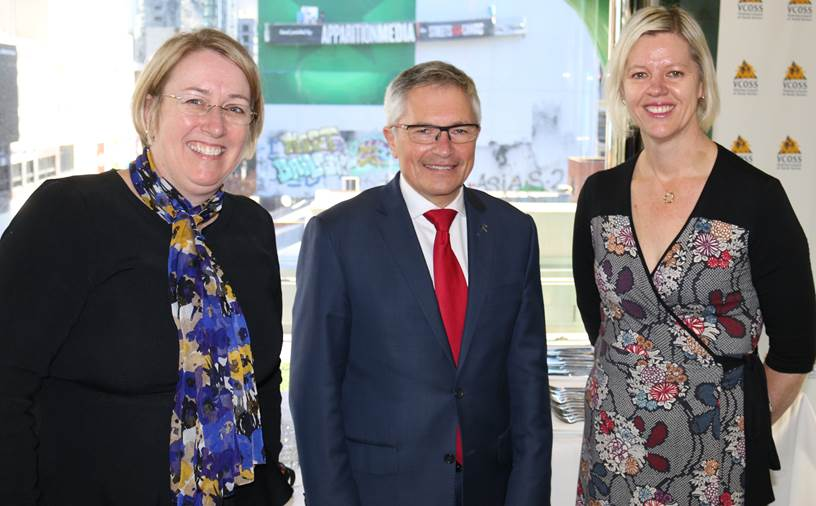 (L to R) VCOSS Deputy CEO Mary Sayers, RMIT Social Studies Dean Professor David Hayward, VCOSS CEO Emma King,