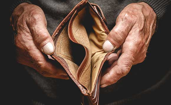 Man on the dole with empty wallet