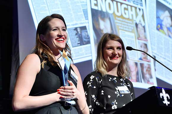 Lauren Novak and Sheradyn Holderhead win award for violence against women reporting