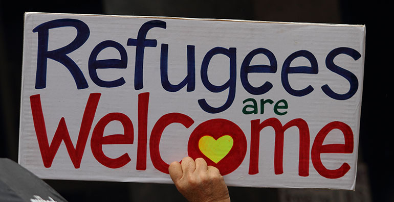 Refugees are welcome sign