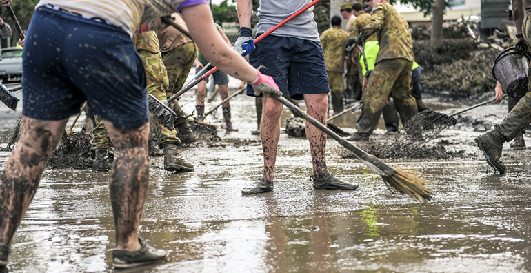 mud army volunteers in Queensland