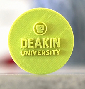 Deakin logo on recycled plastic