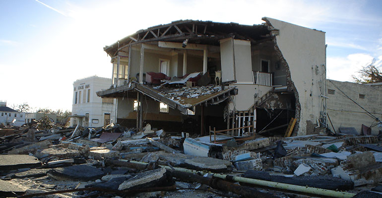 house destroyed by a hurricane