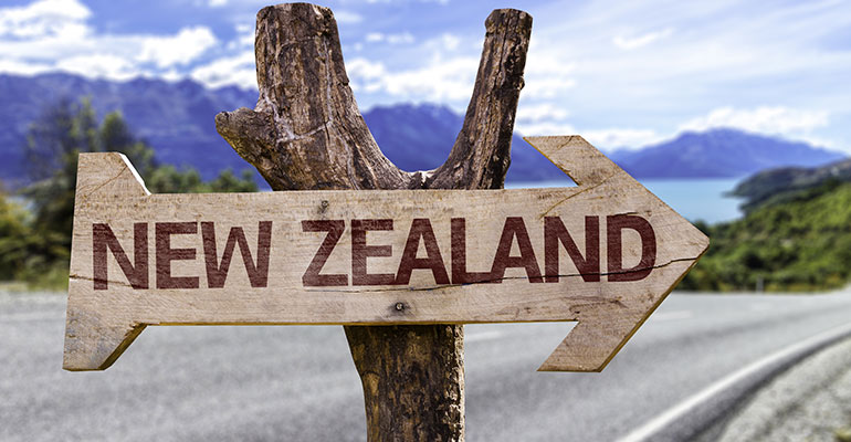 sign pointing to New Zealand