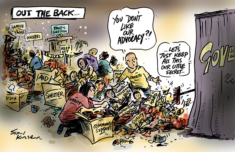 Simon Kneebone Out the Back cartoon, showing government sweeping advocacy our the back door