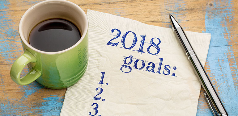 2018 goals written on a napkin