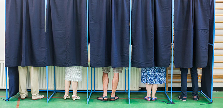people in polling booths