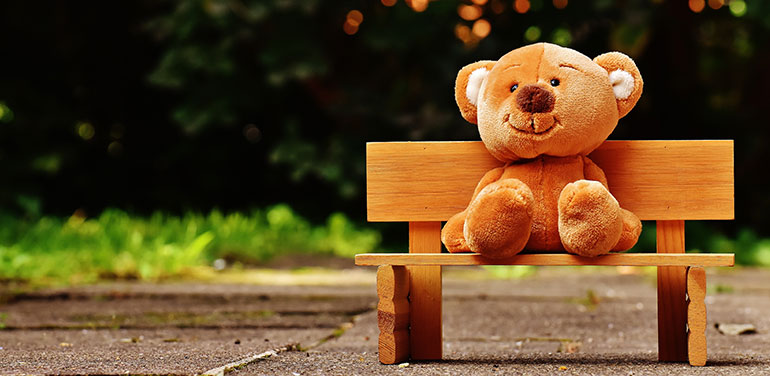 teddy bear on a bench