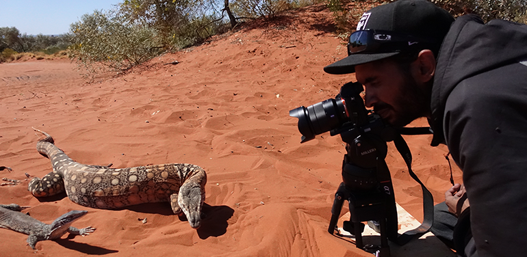 ICTV's John Hodgson filming goannas for ICTV's new series Bedtime Stories. Bedtime Stories will be available from the end of March on ICTV television services and ICTV Play.