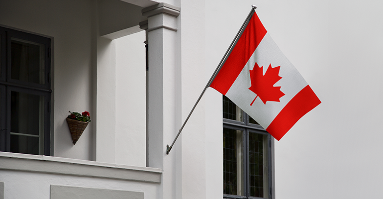 Canada flag on house