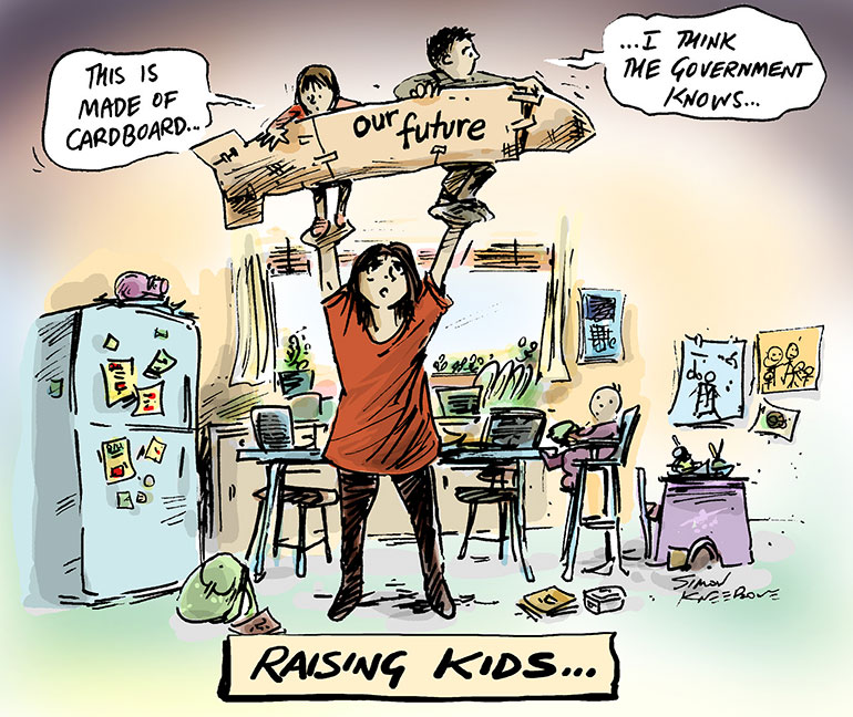 Raising Kids Cartoon - mum holding two kids above her head on a future made of cardboard