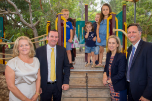 Nicola Forrest, WA Premier Mark McGowan, Minister Simone McGurk and Telethon Kids director Jonathan Carapetis at the launch of the Early Years Initiative. Credit: State Government of Western Australia