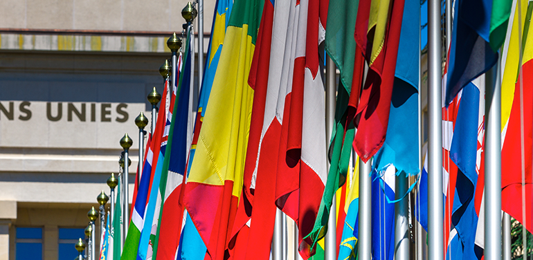Flags in front of the UN