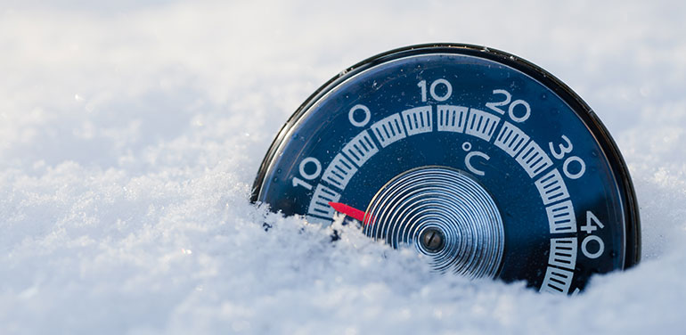 A thermometer in the snow