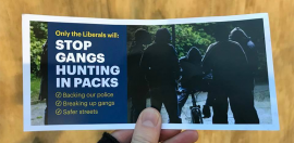 Community Groups Condemn Liberal Party 'Gang Busting' Flyer