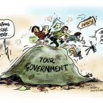 Leadershit Cartoon, government hiding under cover