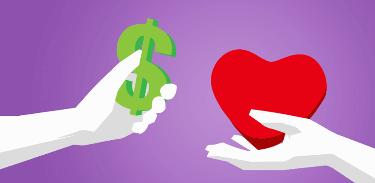 Graphic is hand holding dollar sign and another hand holding heart