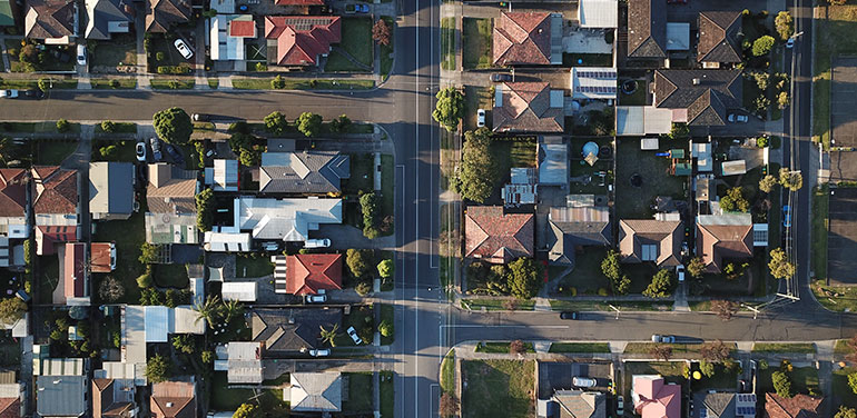 Aerial view of houses in Melbourne