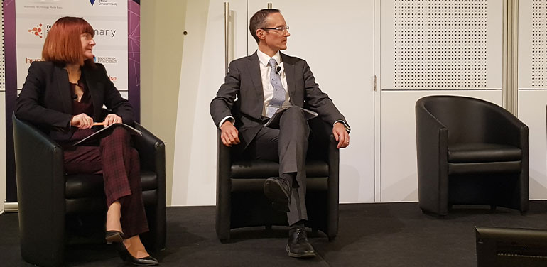 Rachel Siewert and Andrew Leigh on stage at pre-election forum