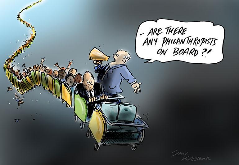 Philanthropists on board cartoon