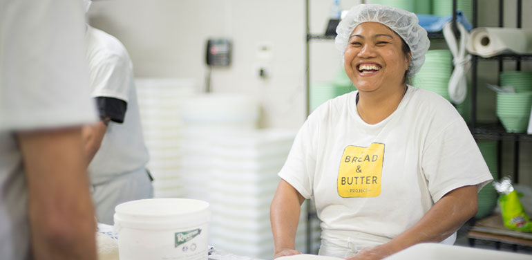 Somprasong from The Bread & Butter Project, an employment-focused social enterprise bakery for refugees and asylum seekers, and recent recipient of Westpac Foundation's collaborative funding.