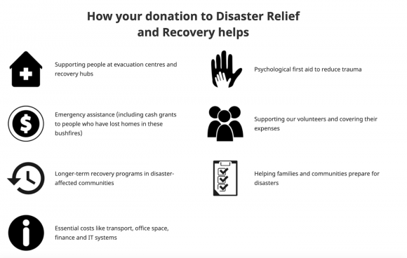 Graphic showing how a donation to Disaster Relief and Recovery helps.