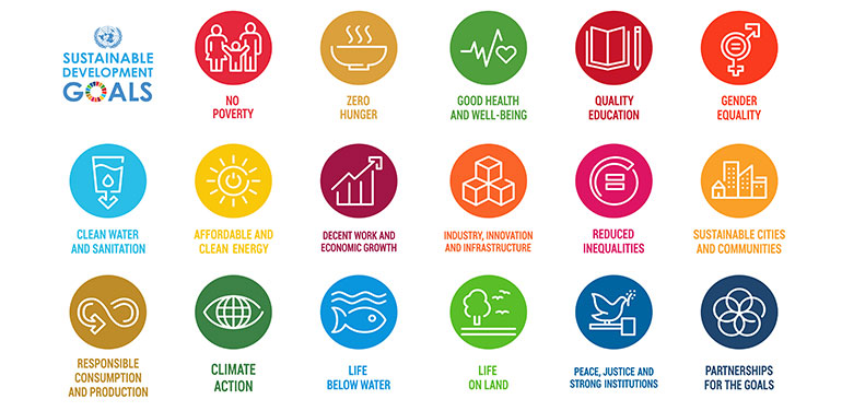 Icons for each of the 17 sustainable development goals
