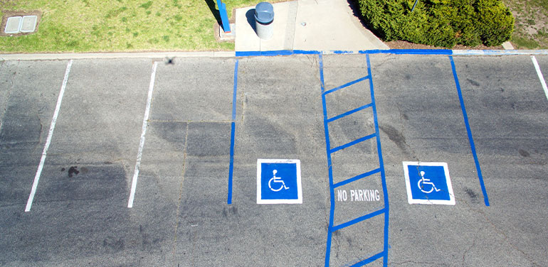 aerial view of an accessible parking space