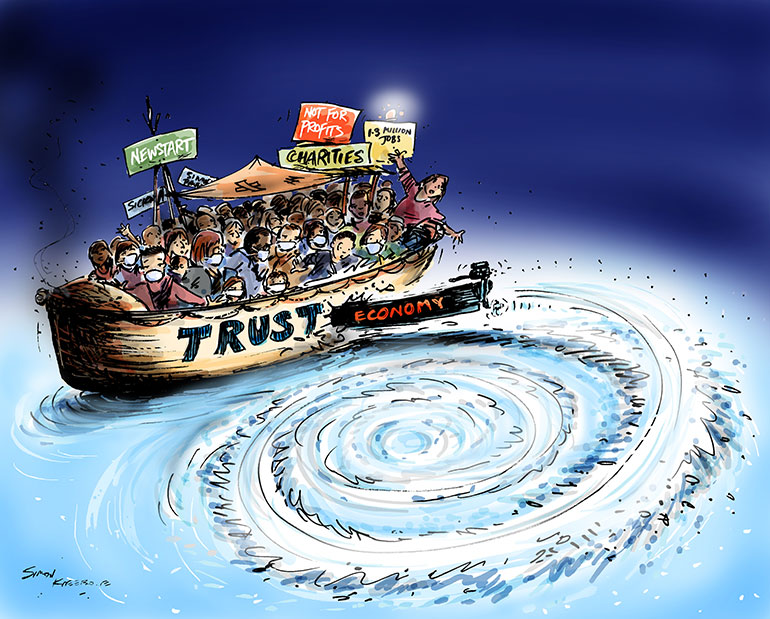 Trust cartoon - boat with signs for trust, newstart, not for profits, headed for a whirlpool