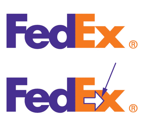 FedEx logo highlight arrow that can be seen between the letters e and x