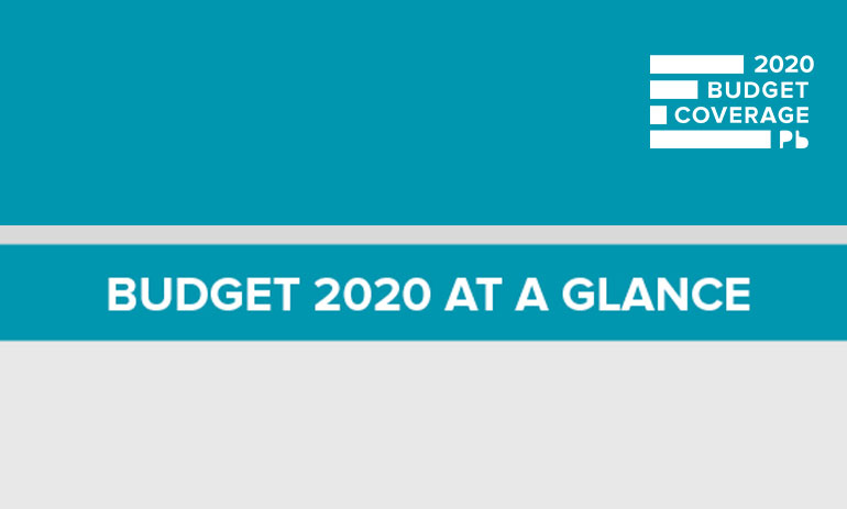 words Budget 2020 at a glance on a green and grey background