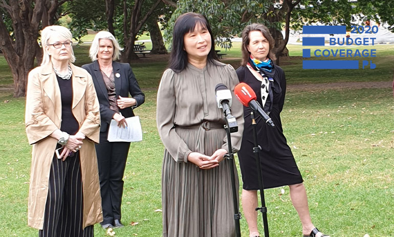Economic Justice Australia Executive Officer Leanne Ho speaking at the social sector press conference in Sydney