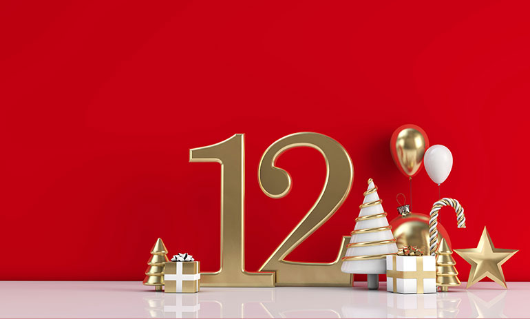 number 12 on red background with festive images of christmas tree and present