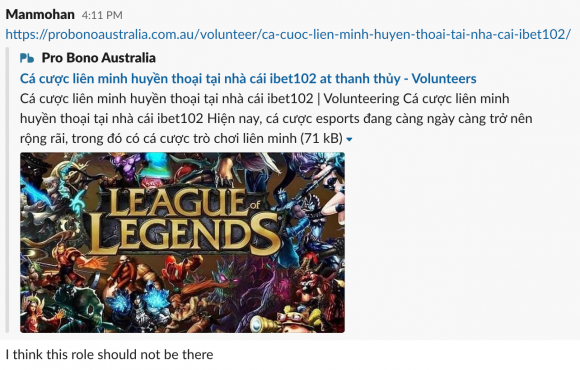 screen shot of a spam volunteer post on the Pro Bono Australia website