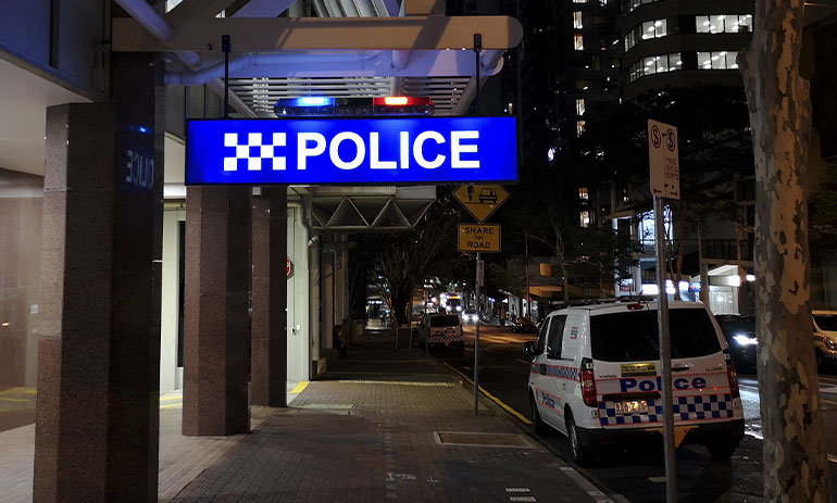 police station in Brisbane at night.